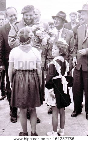 Yangiyer Uzbekistan - May 10 1963: Pioneer girls meet Fidel Castro.