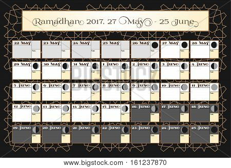 Ramadan calendar 2017, 27th June. Check date choice. Includes: fasting tick calendar, moon cycle - phases, 30 days of Ramadan on black background with Islamic pattern. Vector illustration.