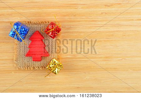 Decorative Christmas Fir Tree And Gift