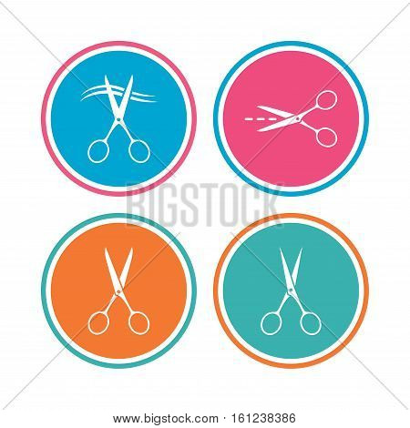 Scissors icons. Hairdresser or barbershop symbol. Scissors cut hair. Cut dash dotted line. Tailor symbol. Colored circle buttons. Vector