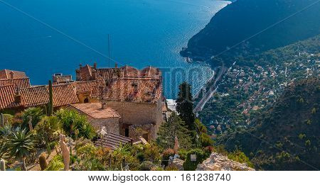 Mediterranean Sea And Medieval Houses In Eze Village In France