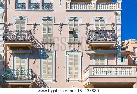 Ornate Facade Of Residential Buildings In Monaco