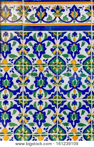 Ornate tunisian mosaic tile work in the Old Town in Nice France