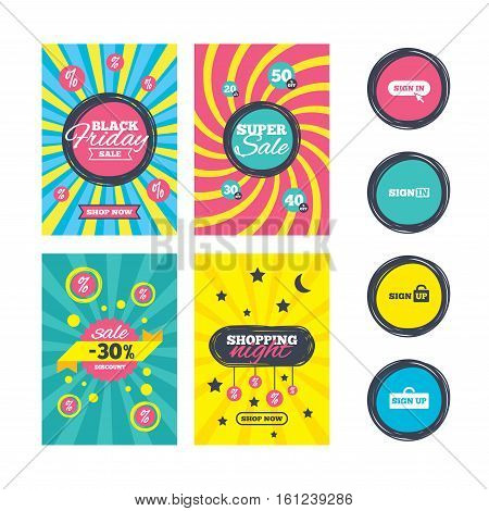 Sale website banner templates. Sign in icons. Login with arrow, hand pointer symbols. Website or App navigation signs. Sign up locker. Ads promotional material. Vector