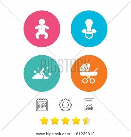 Moon and stars symbol. Baby infants icon. Buggy and dummy signs. Child pacifier and pram stroller. Calendar, cogwheel and report linear icons. Star vote ranking. Vector