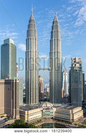 Kuala Lumpur, Malaysia - September 24, 2016: Famous Petronas Towers in Kuala Lumpur, Malaysia