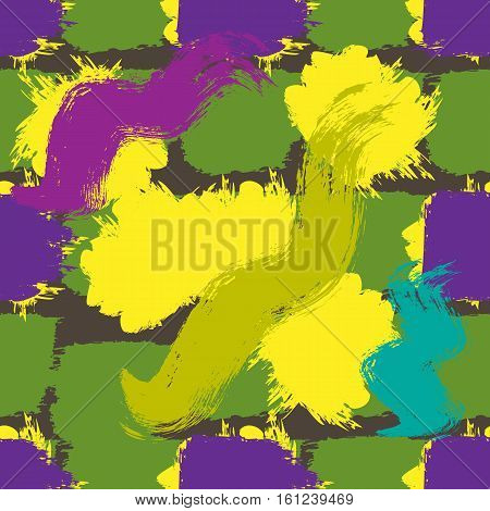 Abstract background painted colorful brush strokes. Seamless pattern. Grunge texture. Green purple yellow blue brown.