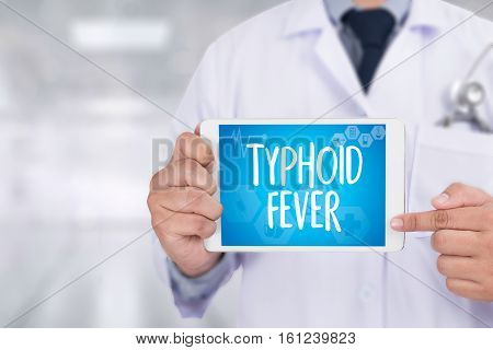 Typhoid Fever Medical Concept , Typhoid Positive , Composition Of Medicaments Stop Typhoid  ,