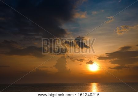 beautiful sky at sunset / sunrise oversea natural background