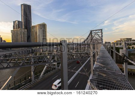 BRISBANE, AUSTRALIA - December 5 2016: Looking across Brisbane Story Bridge span on the walkway above the bridge, view of the northern side of the bridge