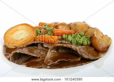 Traditional English roast with Yorkshire pudding and vegetables