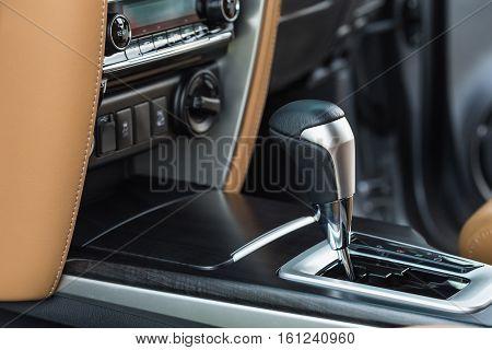 Detail Of Modern Car Interior, Focus On Gear