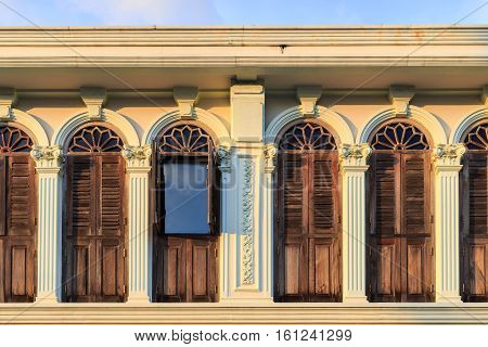 Vintage window or Sino-Portuguese style in Phuket old town Thailand