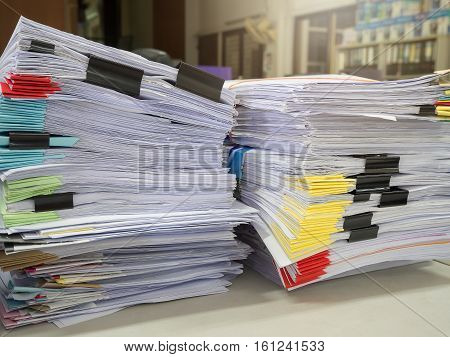 Business Concept, Pile Of Unfinished Business Documents On Office Desk