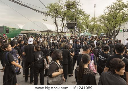 BANGKOK THAILAND - NOV 19 : massive crowd of thai people in Sanam Luang area while the funeral of king Bhumibol Adulyadej in Grand Palace on november 19 2016