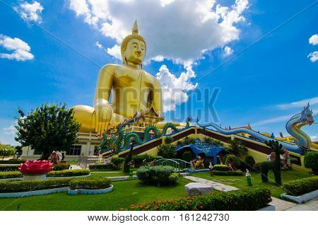 The beautiful Buddha gold at Wat Muang Temple,Angthong Thailand
