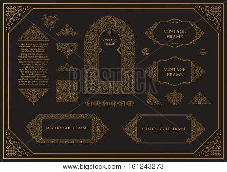 Arabic vector set of frames. Crest lines art design template. Muslim gold outline elements and emblems. Eastern floral frame. Logos line pattern for menu, postcard, restaurant, wedding invitation