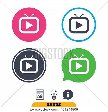 Retro TV mode sign icon. Television set symbol. Report document, information sign and light bulb icons. Vector