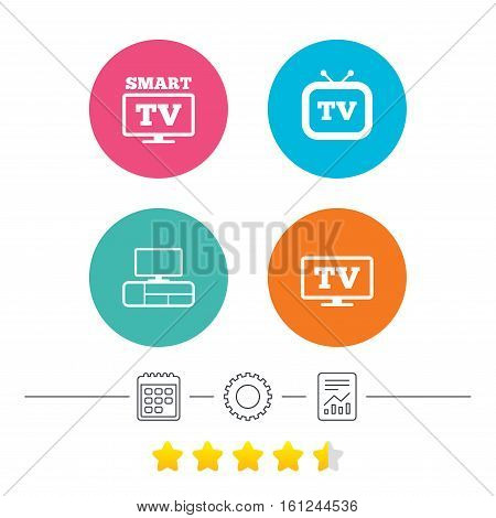 Smart TV mode icon. Widescreen symbol. Retro television and TV table signs. Calendar, cogwheel and report linear icons. Star vote ranking. Vector