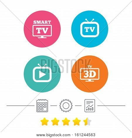 Smart 3D TV mode icon. Widescreen symbol. Retro television and TV table signs. Calendar, cogwheel and report linear icons. Star vote ranking. Vector