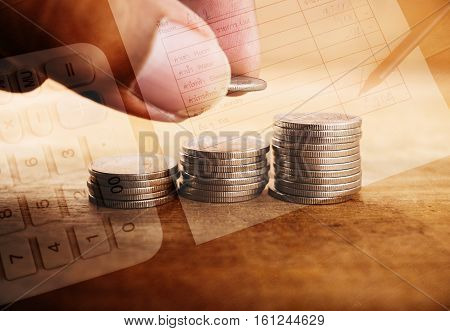 Double exposure hand with stack of coins and utility bill and calculator with account banking for finance Money and finance concept
