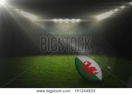 3D Blurry animated flare against rugby stadium