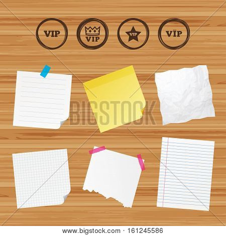 Business paper banners with notes. VIP icons. Very important person symbols. King crown and star signs. Sticky colorful tape. Vector