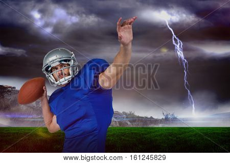 3D American football player looking away while throwing the ball against stormy landscape with lightning bolt