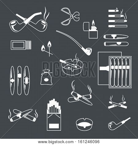 Silhouette Smoking And Cigarette Icons Vector Black And White Set. Lighter Match Ashtray Illustratio