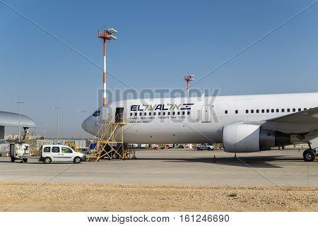 Boeing 767 El Al Israel Airlines Airplane In Ben-gurion Airport. Israel