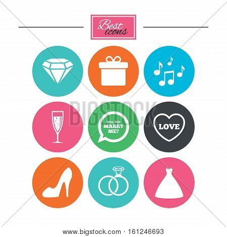 Wedding, engagement icons. Rings, gift box and brilliant signs. Dress, shoes and musical notes symbols. Colorful flat buttons with icons. Vector