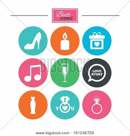Wedding, engagement icons. Ring with diamond, gift box and music signs. Dress, shoes and champagne glass symbols. Colorful flat buttons with icons. Vector