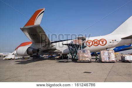 BEN-GURION AIRPORT, ISRAEL - DECEMBER 7, 2016: TNT Boeing 747-4HAF(ER) (OO-THB) at Ben-Gurion Airport