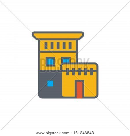 Vector icon or illustration showing real estate business with house in outline style