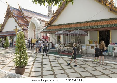 BANGKOK THAILAND - NOV 19 : The chapel in front of main stupa at Wat Arun temple on november 19 2016. Wat Arun is one of popular tourism place in Bangkok