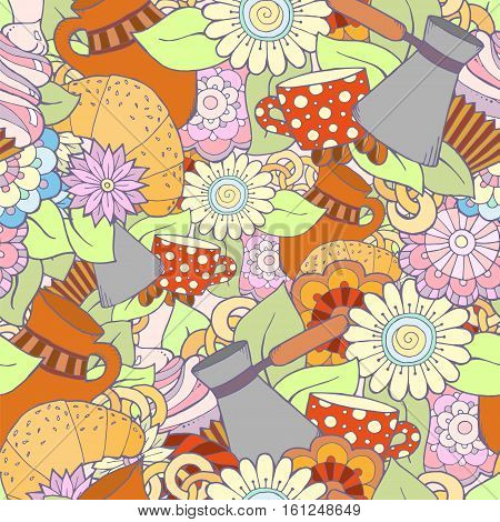 Breakfast theme. Seamless pattern with coffee cezve, pot, jug, tea cup, croissant, cupcake, sweets and flowers. Tea and coffee seamless pattern. Background for menu, site, cafe, restaurant, teahouse.