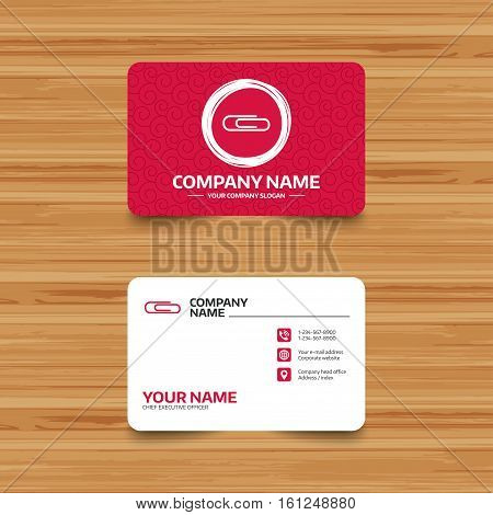 Business card template with texture. Paper clip sign icon. Clip symbol. Phone, web and location icons. Visiting card  Vector