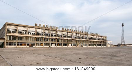 Nicosia Cyprus - November 22 2016: Exterior view of the abandoned building of Nicosia International airport located in the buffer zone in Cyprus
