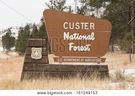 A sign that marks the entrance to a National Forest
