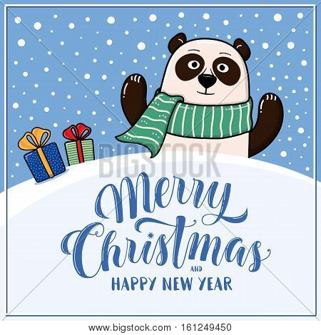 Merry Christmas and Happy New Year greeting card with panda, gifts, snow hills and lettering, cartoon vector illustration. Christmas and New Year card, invitation, poster, banner design with panda