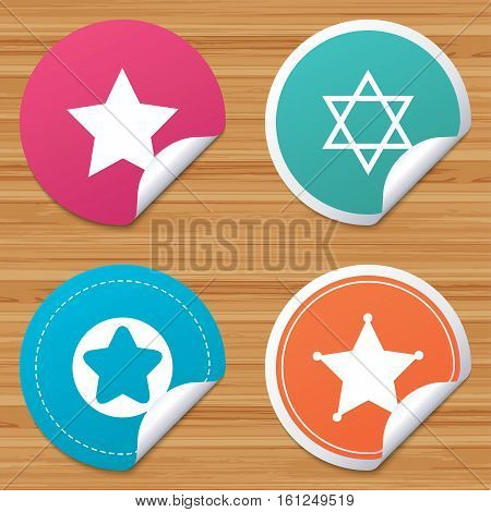 Round stickers or website banners. Star of David icons. Sheriff police sign. Symbol of Israel. Circle badges with bended corner. Vector