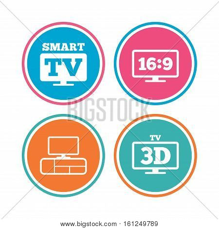 Smart TV mode icon. Aspect ratio 16:9 widescreen symbol. 3D Television and TV table signs. Colored circle buttons. Vector