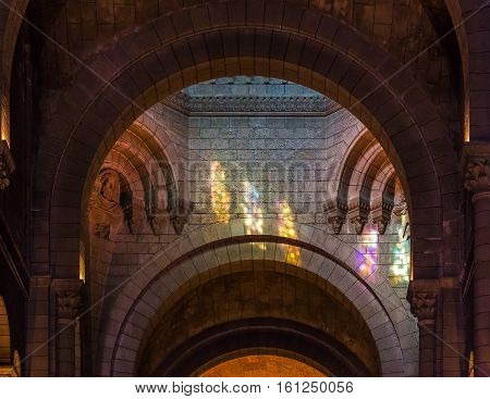 Monaco Ville, Monaco - October 7, 2016: Interior of Saint Nicholas Cathedral 19th century romanesque Catholic cathedral where Monegasque royalty the Grimaldi's like Grace Kelly and Prince Rainier is burried