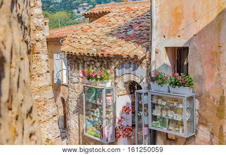 Eze, France - October, 08, 2016: Old buildings and narrow streets in the picturesque medieval city of Eze Village in the South of France along the Mediterranean Sea