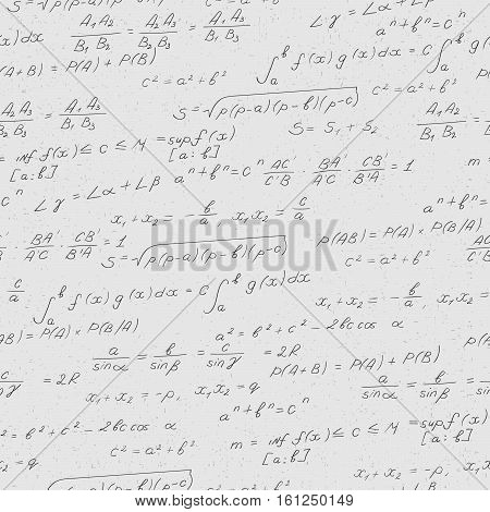 Seamless pattern on the theme of the subject of mathematics formulas theorems darkcharacters on a light background
