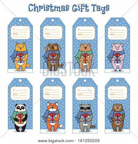 Set of gift tags for Christmas and New Year presents with fox, cat, dog, panda, raccoon, pig, bear, monkey, cartoon vector illustration. Gift tag templates with pets and animals holding presents