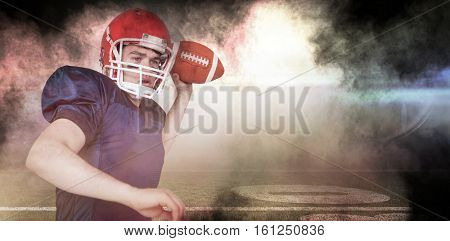 3D American football player throwing the ball against splashing of color powder