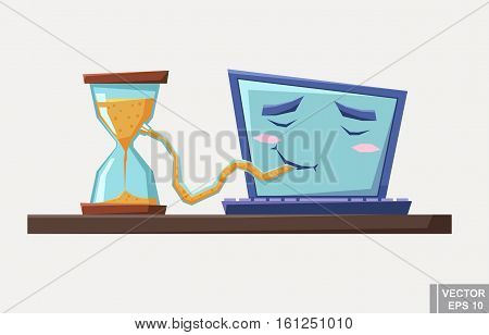 Time Sink Due To Computer Internet Addiction Cartoon Design Illustration Vector
