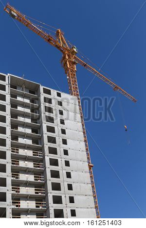 New group of construction building tenement apartment houses