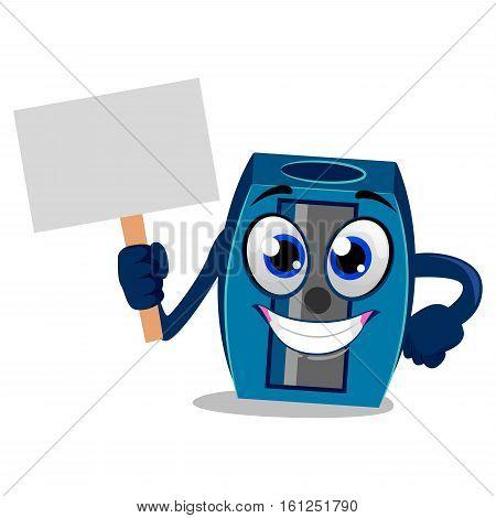 Vector Illustration of Sharpener Mascot holding Placard